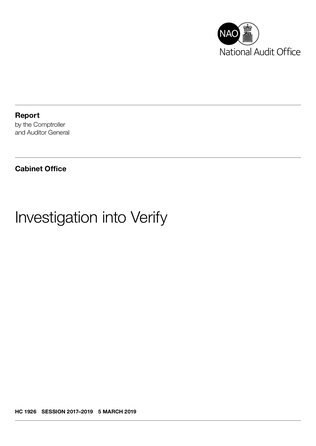 UK National Audit Office's Investigation into GOV.UK Verify