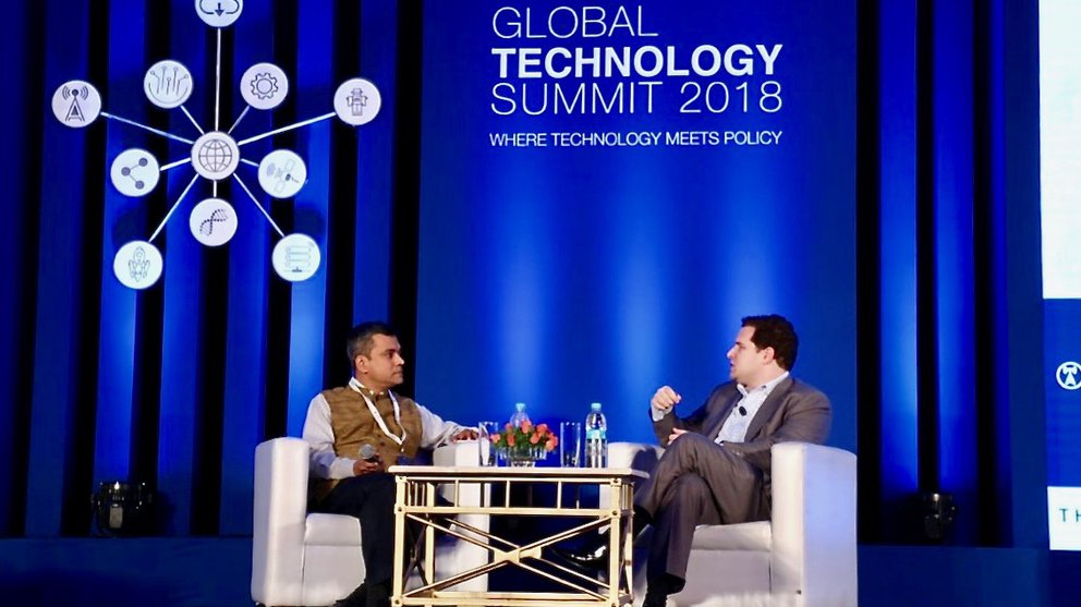 CV Madhukar speaking at the 2018 Global Tech Summit