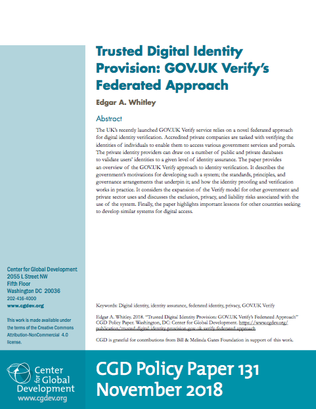 Trusted Digital Identity Provision: GOV.UK Verify's Federated Approach